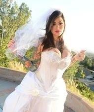 Busty Tattooed Bride Strips