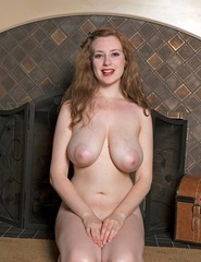 Busty Redhead Misha Lowe By The Fire Place - 06