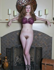 Busty Redhead Misha Lowe By The Fire Place - 10