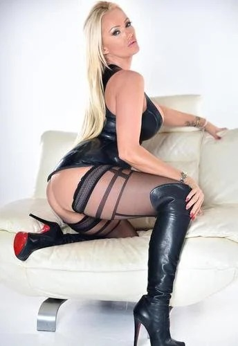Lucy Zara Black Leather Dress And Heels