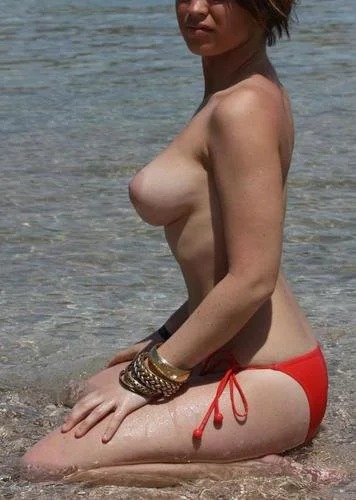 Kirstie Red Bikini Titties Flaunt It